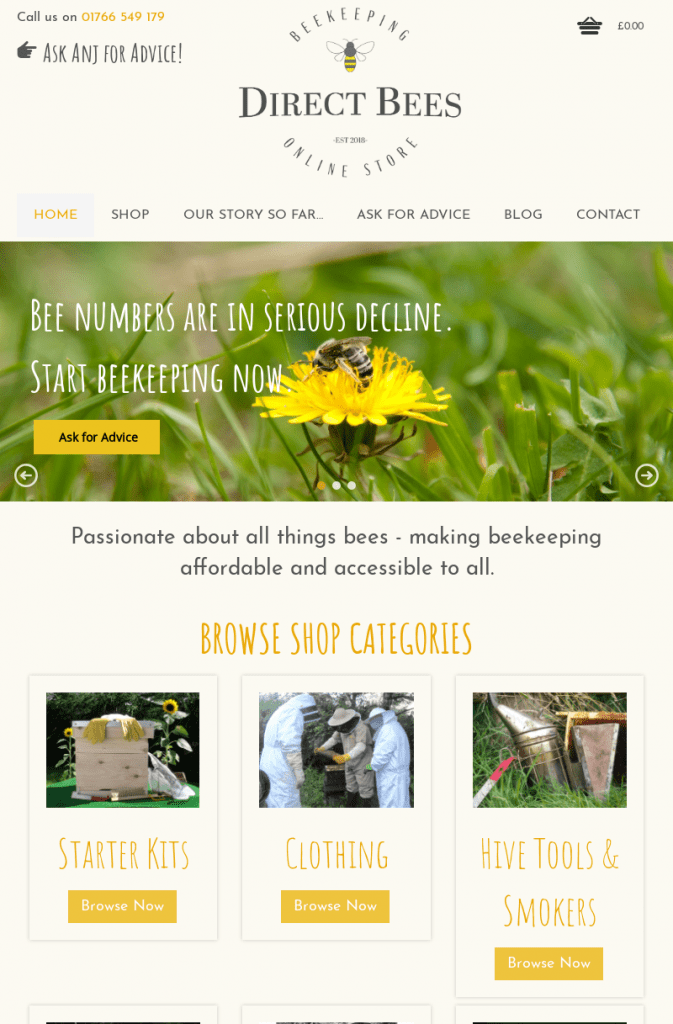 New Website Launch for Direct Bees