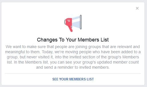 Changes to Group Membership on Facebook